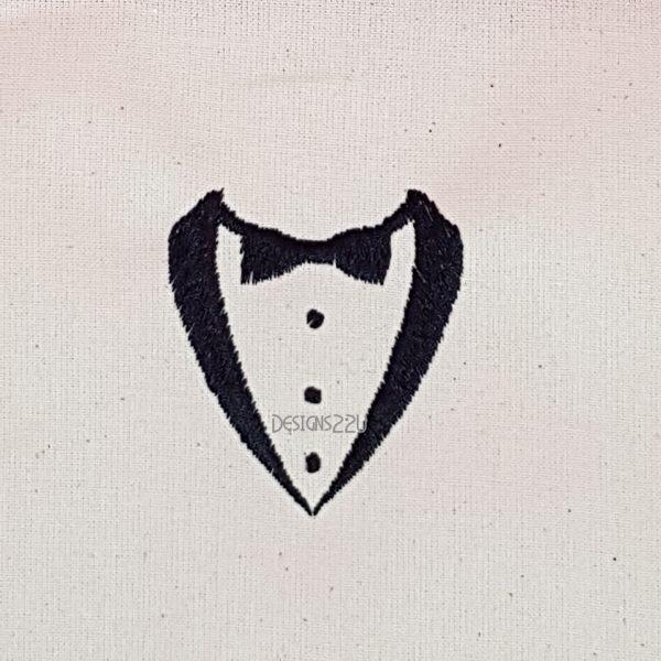 black tie tuxedo embroidery design 2 sizes