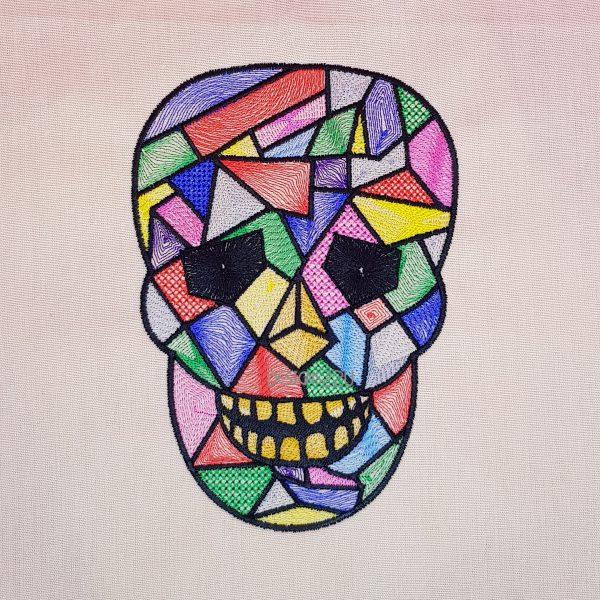 Harlequin Skull Embroidery Design 3 Sizes Designs22u