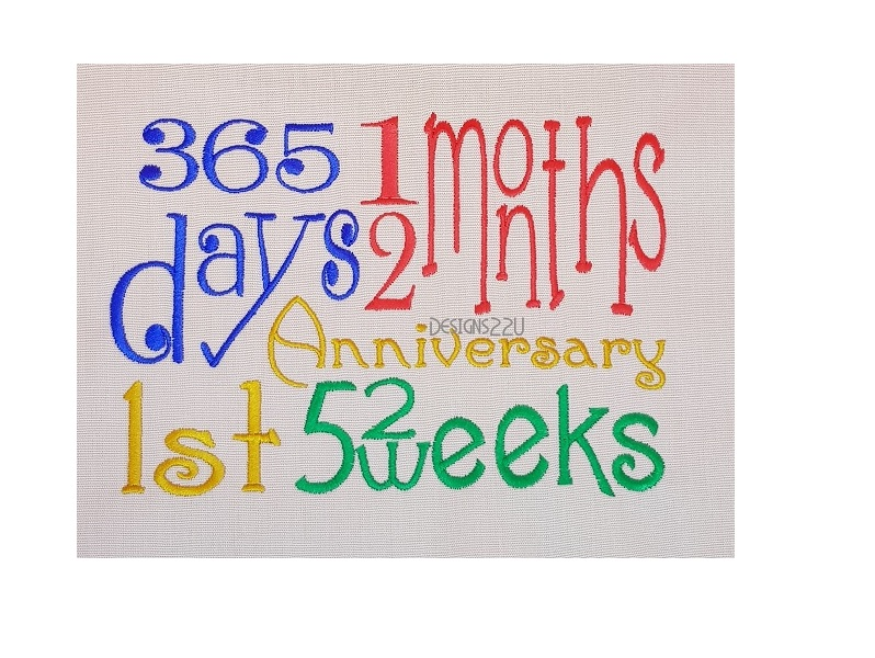 1 Year 12 Months 52 Weeks 365 Days Quotes: 1st Anniversary 365 Days 12 Months 52 Weeks Embroidery