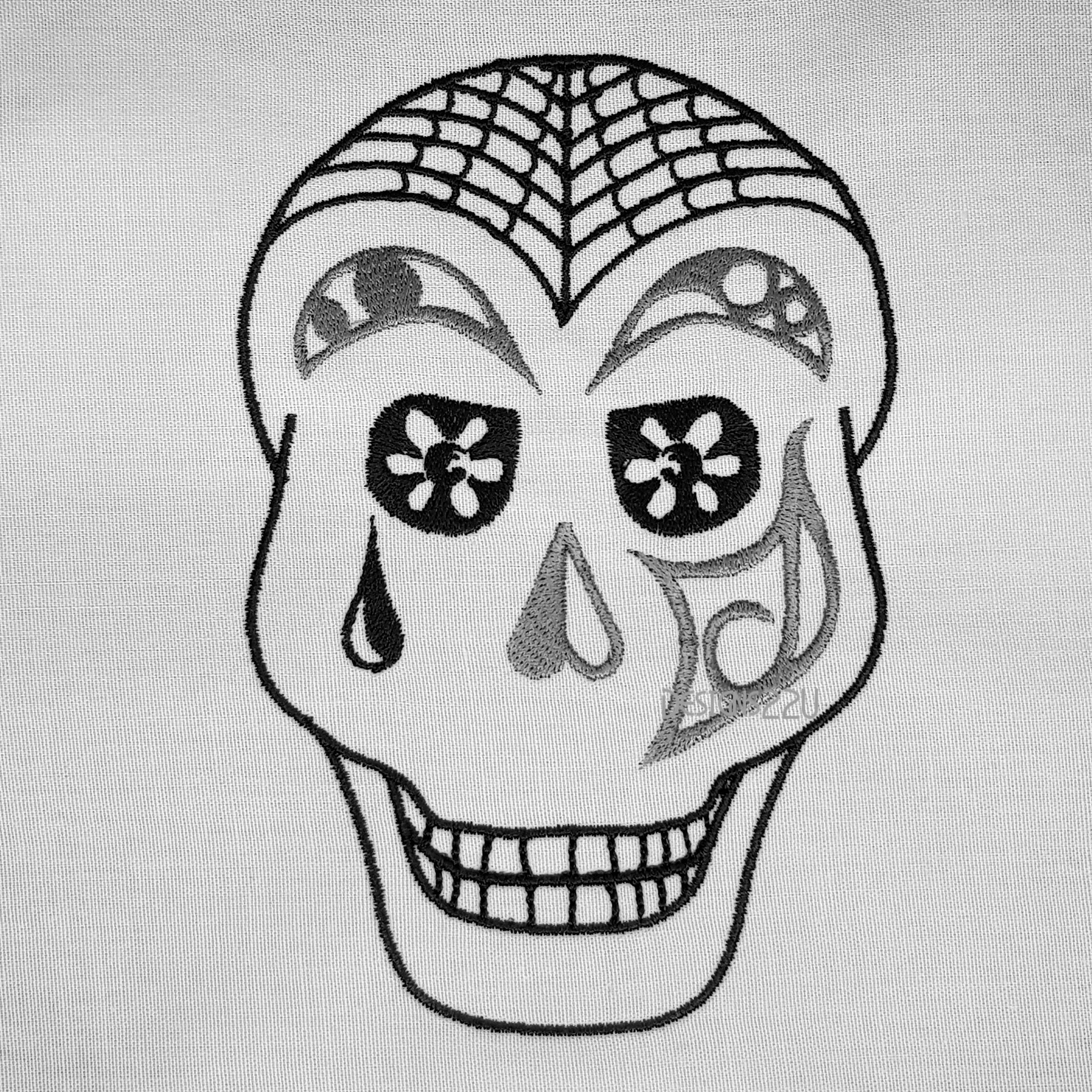 Teardrop Skull Embroidery Design 3 Sizes Designs22u