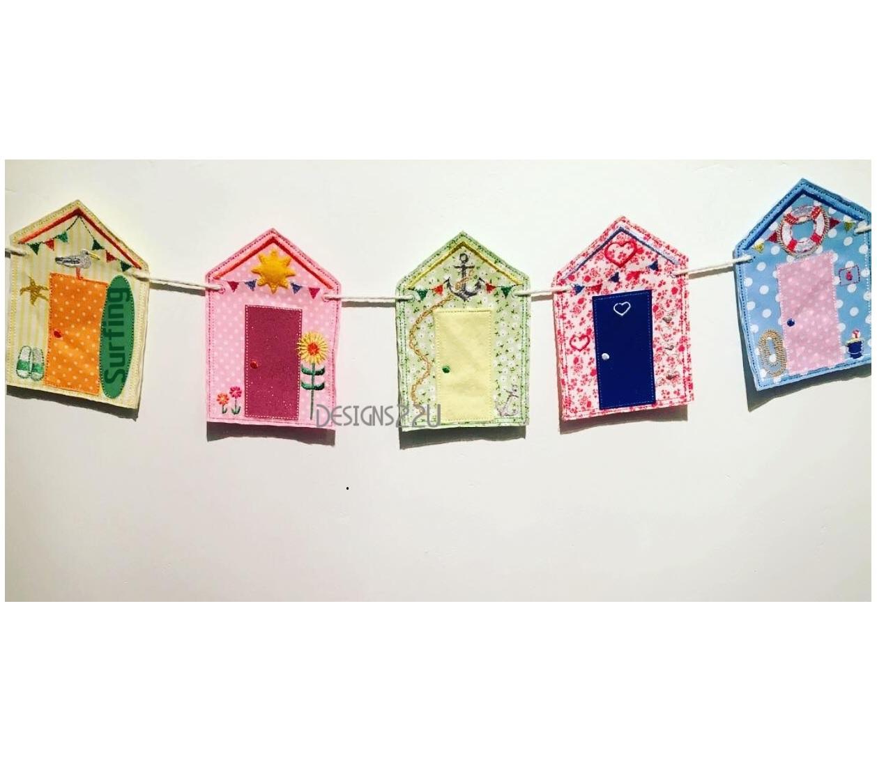 Beach Hut Machine Embroidery Design: Beach Hut Bunting Embroidery Design